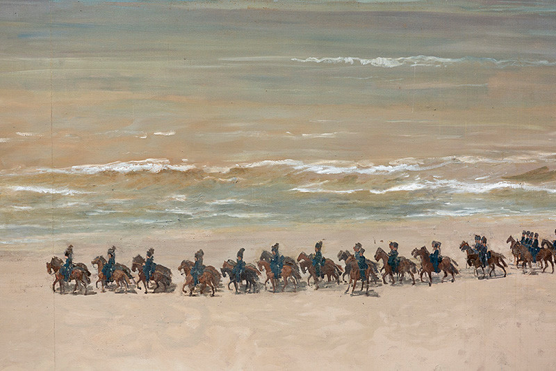 De galopperende paarden op het Scheveningse strand zijn gemaakt door George Breitner.