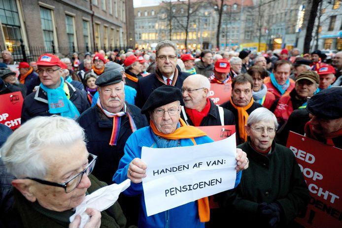 In 2014 werd er in Den Haag geprotesteerd tijdens de behandeling van de nieuwe pensioenregels door de Tweede Kamer. Archieffoto