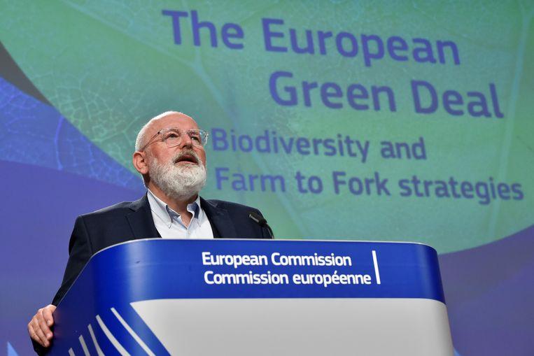 Frans Timmermans in mei 2020 tijdens een persconferentie over de Green Deal.  Beeld EPA