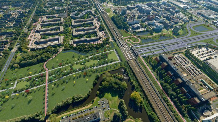Illustratie van Rijkswaterstaat die toont hoe de A9 (rechts) in de tunnel duikt met het toekomstige park (links) erop. Beeld RWS