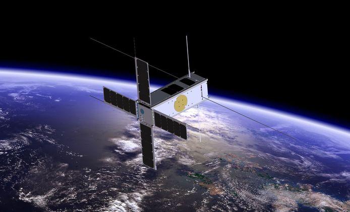 Een initiatiebeeld van een CubeSat, in dit geval de PICASSO, in de ruimte.