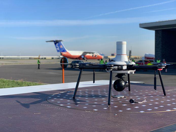 Met deze drone werden de voorbije twee dagen testen gedaan op Brussels Airport.