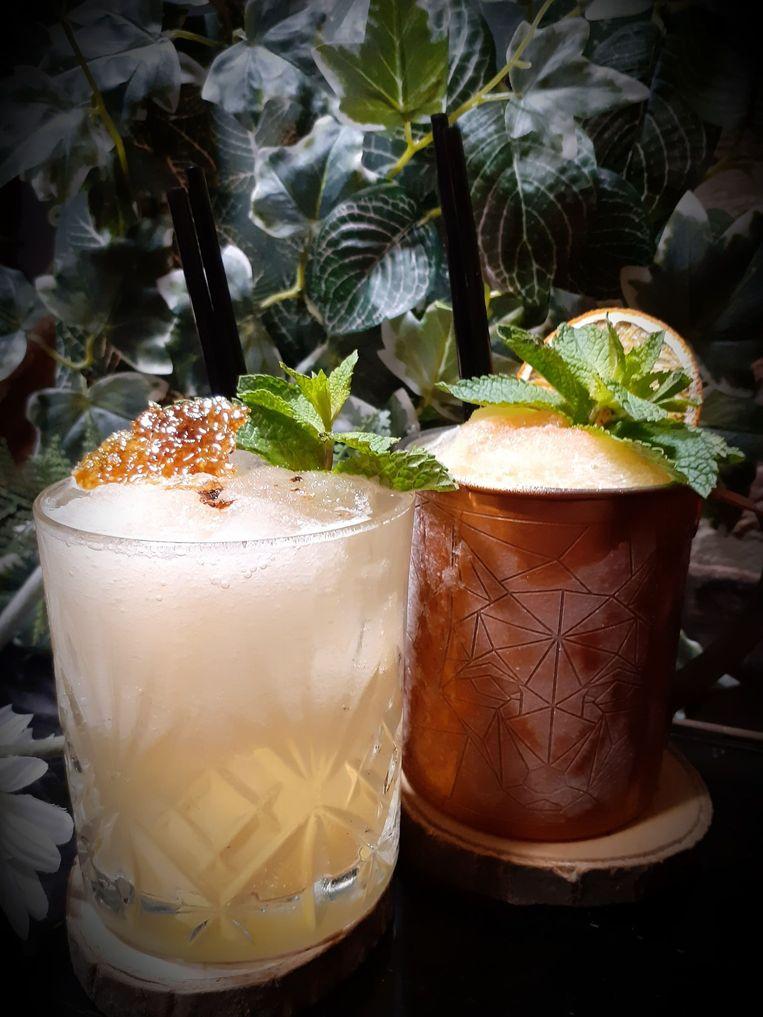 Frozen dark duo, pittige zomerse cocktail met bruine rum en bourbon.  Beeld RV