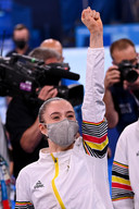 De Truiense Nina Derwael op het moment van haar overwinning afgelopen zondag.
