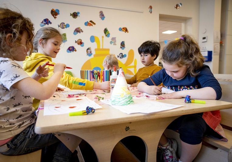 Kinderen op een buitenschoolse opvang (bso). Op donderdag 1 juli wordt gestaakt bij bso's, kinderdagverblijven en peuterspeelplaatsen in Noord-Holland en Zuidelijk Flevoland. Een week later, 8 juli, kan dat in het hele land gebeuren. Beeld ANP