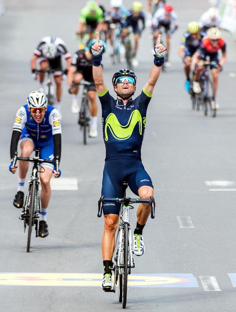 Niemand kwam in de buurt van topfavoriet Valverde in Luik-Bastenaken-Luik. Beeld Klaas Jan van der Weij