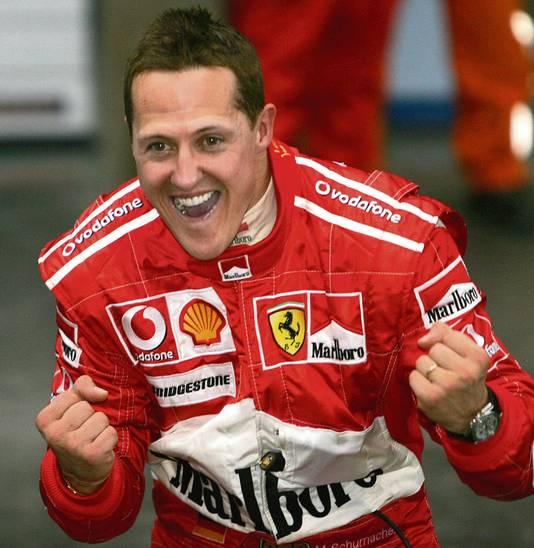 Michael Schumacher na zijn laatste en 91ste  zege in de Formule 1, in 2006 in China.