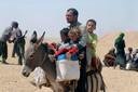 Een jezidi-gezin op de vlucht.