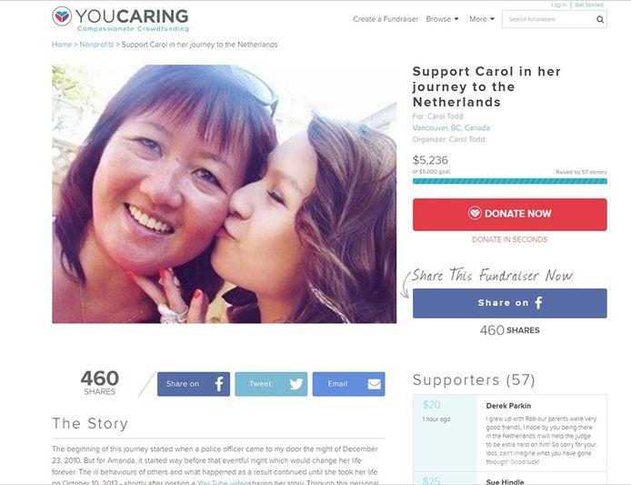 Screenshot crowdfundingspagina Amanda Todd.