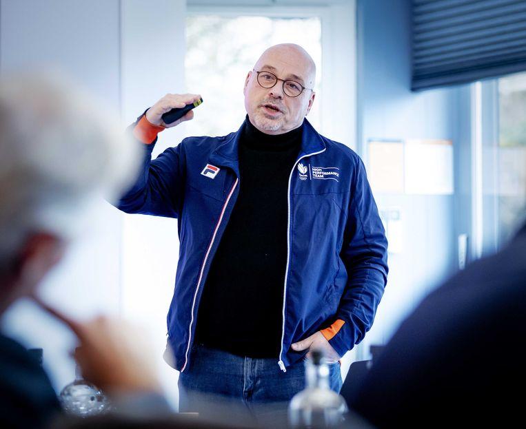 Technisch directeur NOC*NSF Maurits Hendriks tijdens een persbijeenkomst in Sportcentrum Papendal.  Beeld ANP
