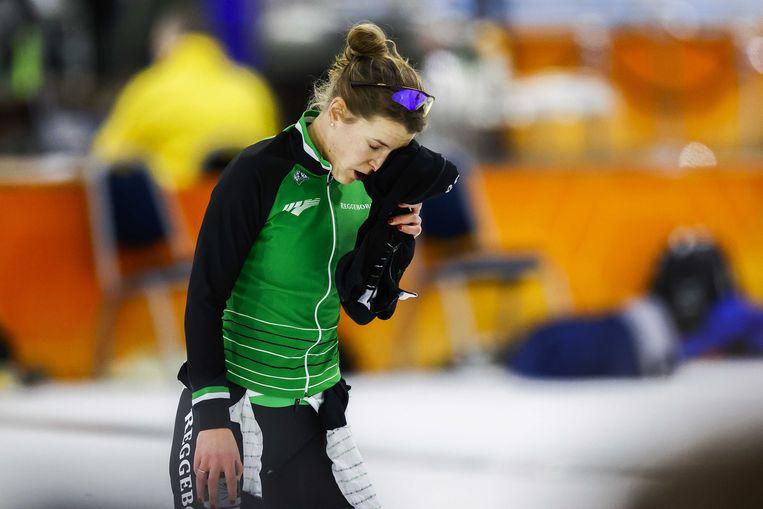 Ireen Wüst na de 3000 meter tijdens het WK-kwalificatietoernooi schaatsen in Thialf.  Beeld ANP
