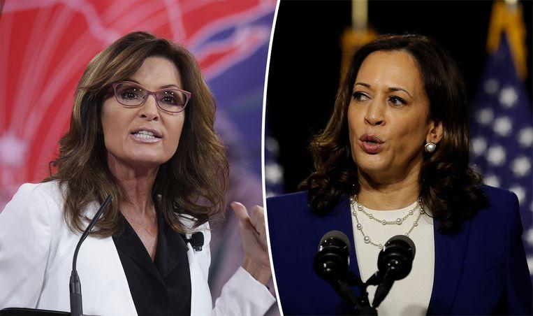 Sarah Palin (links) en Kamala Harris.