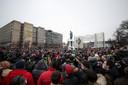 De demonstratie op het Poesjkinplein in Moskou.