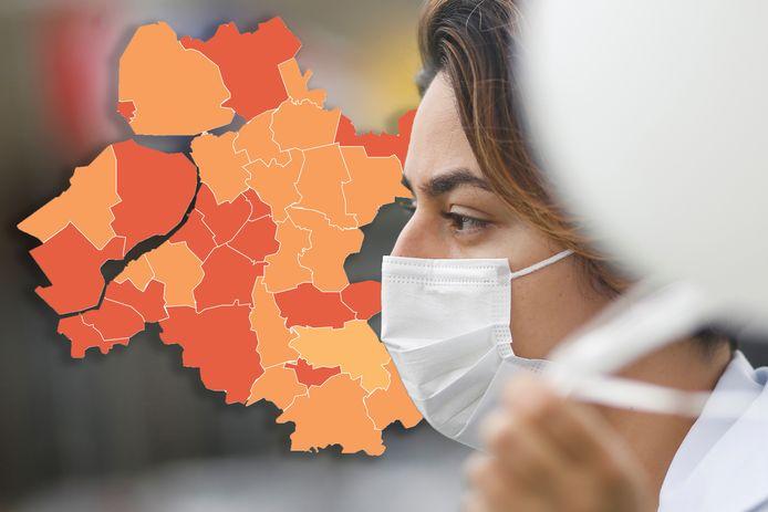 Op de coronakaart van Oost-Nederland kleurt vandaag geen enkele gemeente donkerrood.