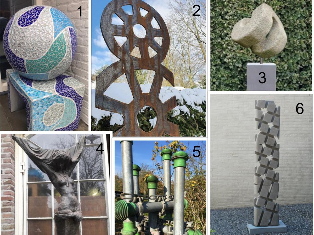 Inwoners van Gilze en Rijen kunnen uit deze zes werken kiezen welke zij het liefst op de wisselsokkel willen hebben.