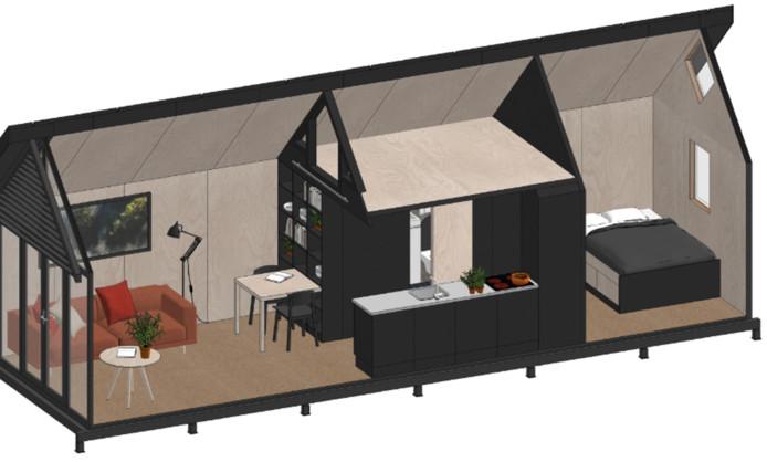 Zo gaan de tiny houses in Hoedekenskerke er ongeveer uit zien. Het definitieve ontwerp is nog niet gekozen.