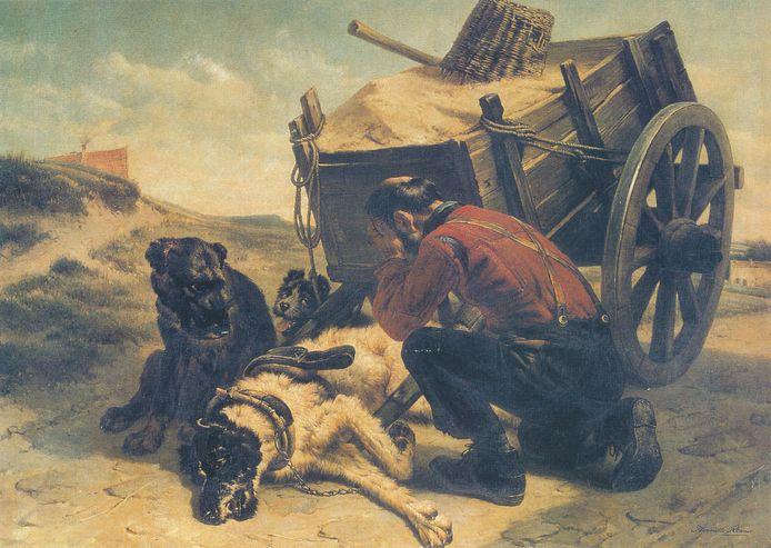 Stervende hond voor hondenkar beladen met zand, geschilderd door Henriette Ronner.