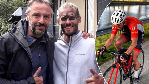Links: Tom Waes en Matthieu Bonne. Rechts: Bonne op de fiets.