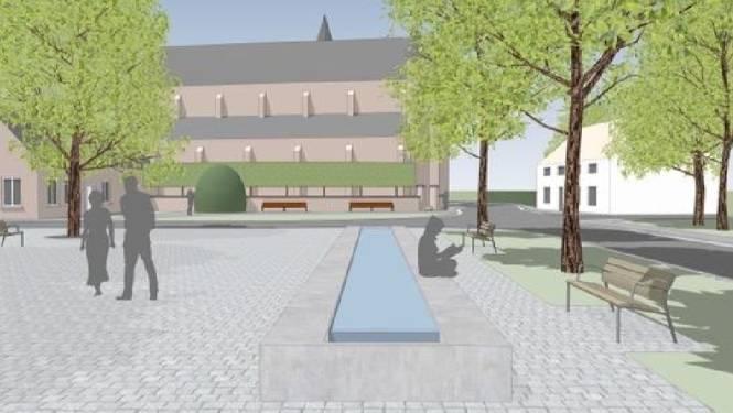 Nieuw dorpsplein van Snellegem krijgt rustieke invulling met waterpartij, bankjes en bomen