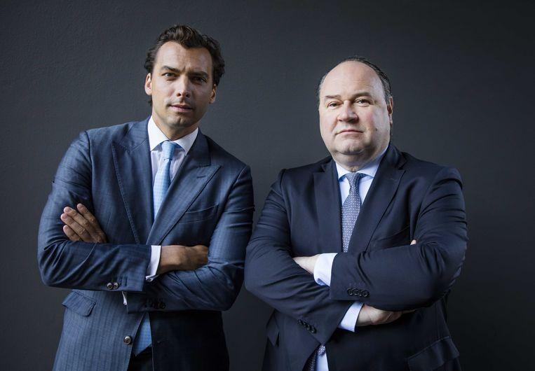 Forum voor Democratie-leider Thierry Baudet (links) en Henk Otten toen ze nog met elkaar door de deur konden. Beeld ANP