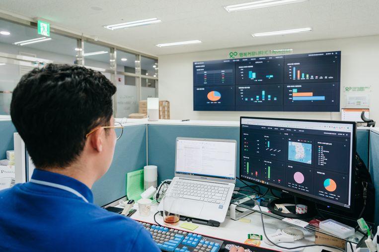 Data verzameld door de speakers worden samengebracht en geanalyseerd in het helpdeskcentrum van SK Telecom. Beeld Jun Michael Park