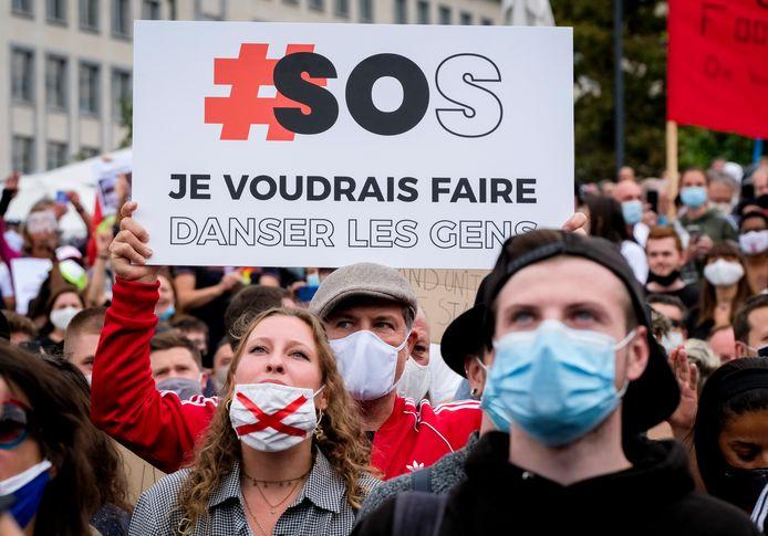 Manifestation d'acteurs de l'événementiel et de la culture, dimanche, à Bruxelles