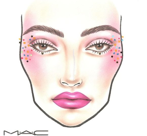 Festival Look 2: Use the Fashion Fanatic Palette with warm and pink shades for this look. Apply the Style & Influence eyeshadow with brush #252 on the eyelid and blend towards the crease. Mad Mod is used in the inner eye corner with a smaller brush #228. As blush Fashion Fanatic is applied with brush #116. Start at the outer corner of the eye and blend towards the temple. Use the same brush and let Totally Fierce flow onto the cheeks. Plenty of mascara is applied to top and bottom lashes. Draw lips with lippencil Candy Yum Yum. For extra longwear apply the lippencil on the entire lip. You can then use the Candy Yum Yum lipstick on top for maximum color and intensity. Play with the Star glitters and place them wherever you want around the eye area and temples. They will stay in place with the Mixing Medium Waterbase applied under it. Add randomly colored dots with Acrylics (shake well before use!) to create a playful feel to the makeup!