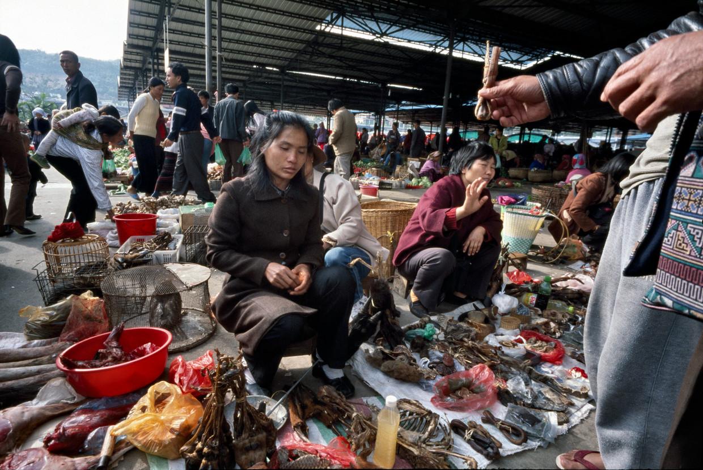 In het afgelegen Mongla wordt dierenvlees verkocht. Beeld LightRocket via Getty Images