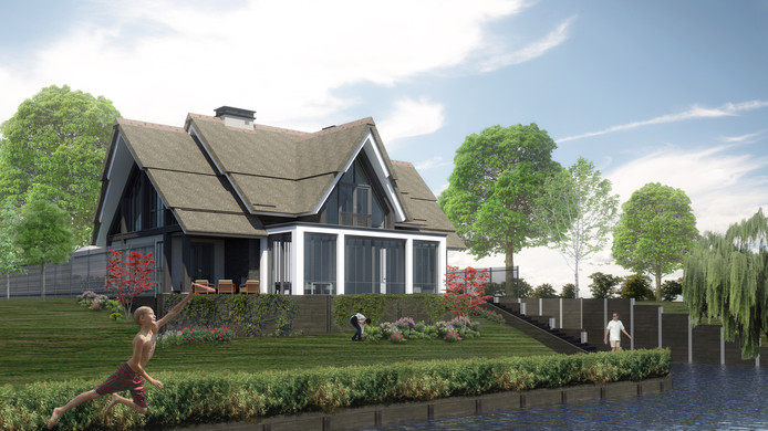 Artist impression van de eerste woning op waterfront De Veene in Veen.