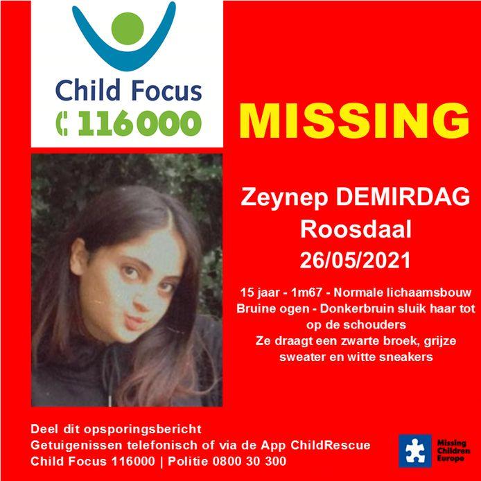 Zeynep Demirdag is al sinds woensdag vermist.