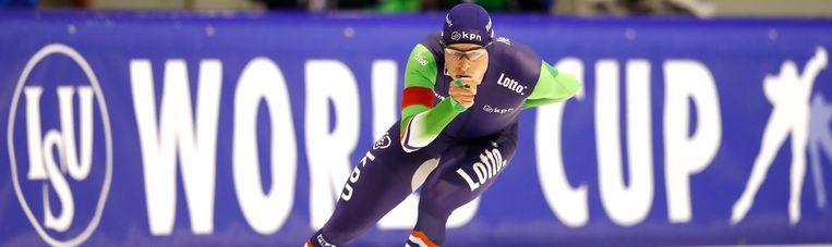 Sven Kramer in het groenblauwe schaatspak Beeld anp