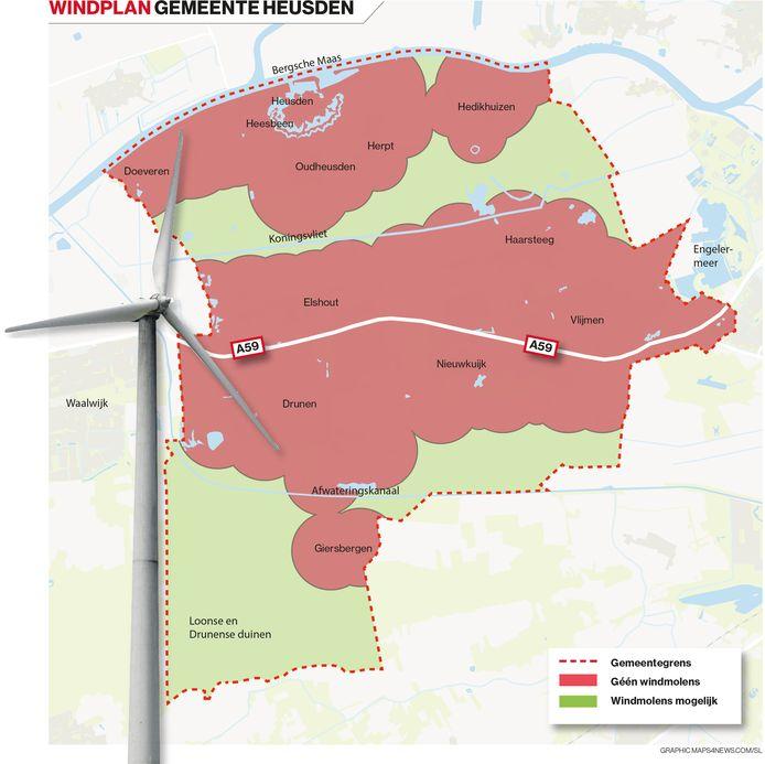 Rood: geen windmolens. Groen: in principe windmolens mogelijk, maar er kunnen belemmeringen zijn;  rode stippellijn: gemeentegrens
