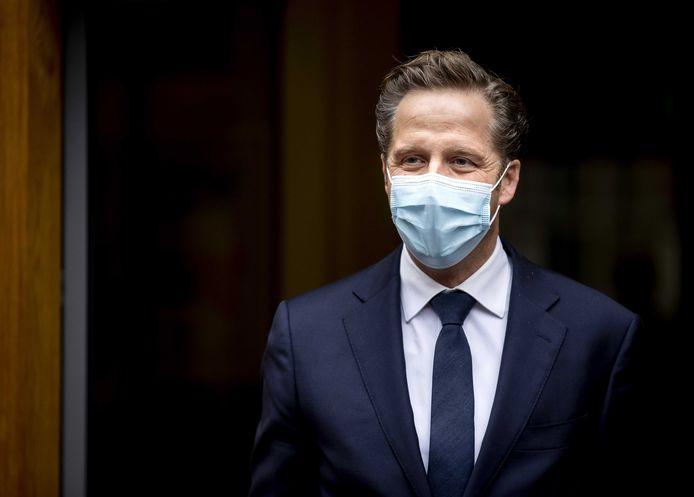 Hugo de Jonge, demissionair minister van Volksgezondheid, na afloop van het overleg van de Ministeriele Commissie COVID-19 (MCC) over de aanpak van het coronavirus.