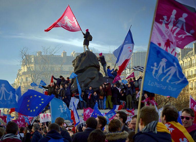 Tegenstanders van legale ivf-behandeling voor lesbiennes protesteren al jaren tegen de verruiming van de wet, zoals hier in Parijs in 2014. Beeld AFP
