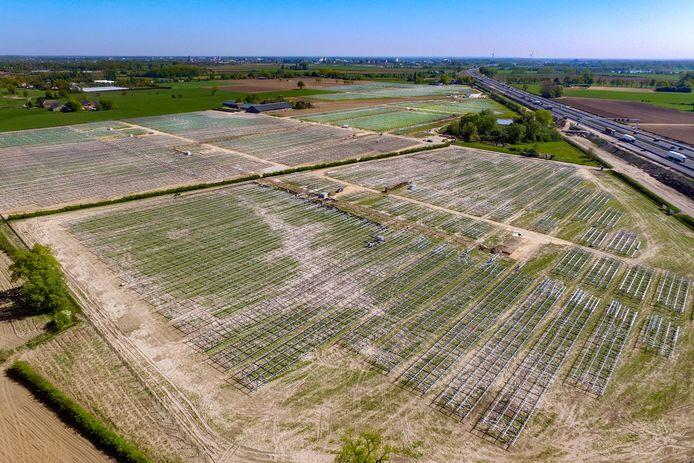 De aanleg van het grootste zonnepark (38 hectare) van Gelderland, langs de A1 bij Voorst.