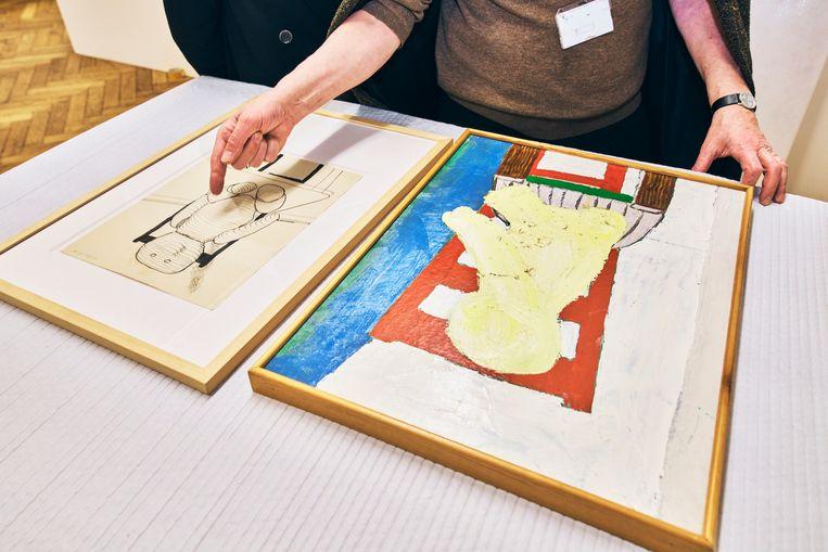 Enkele werken van Raveel die geëtaleerd worden in Bozar.  Beeld Thomas Nolf