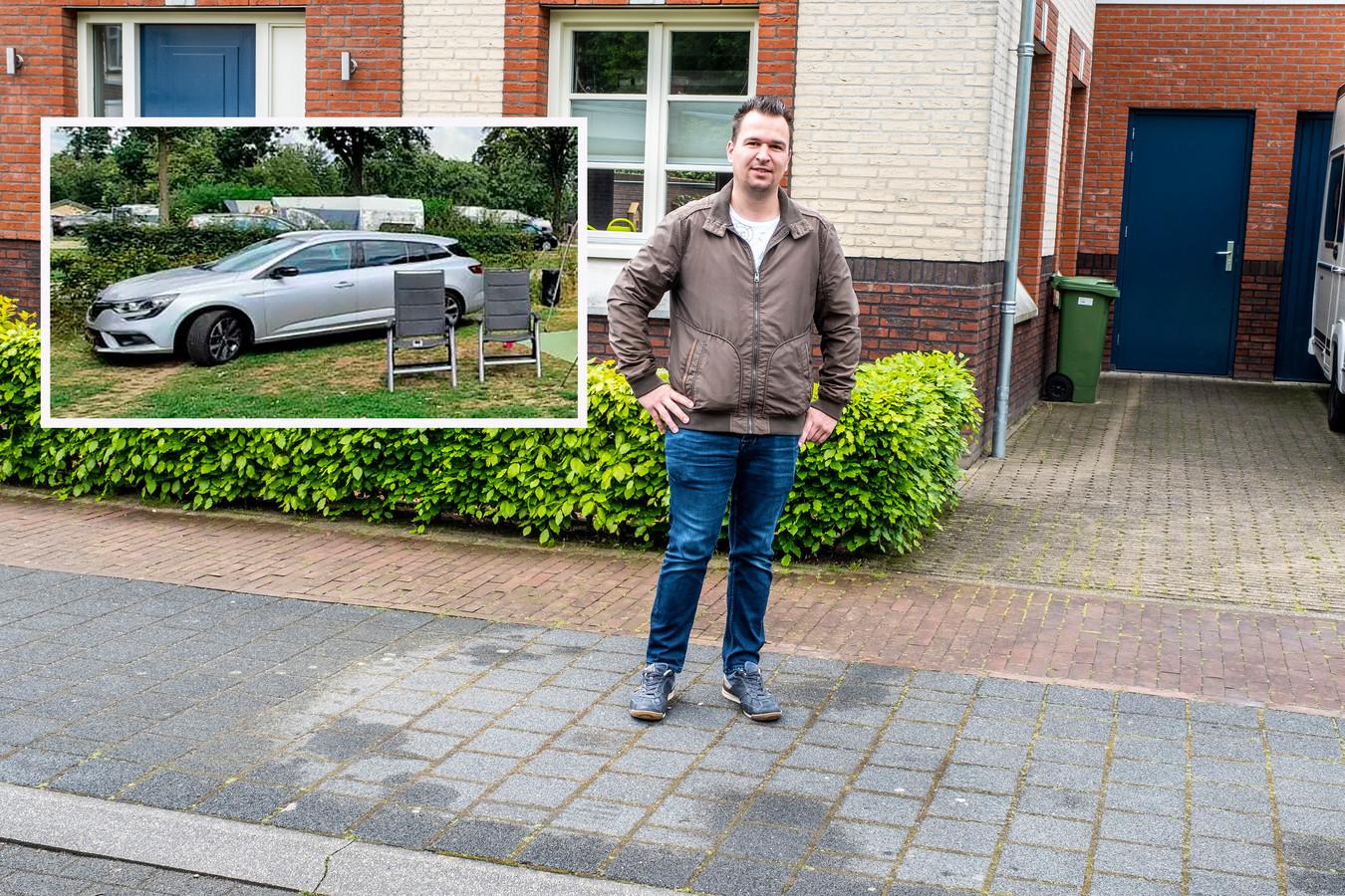 Lars Tijssen op de plek waar tot vorige week zijn renault megane stond/Inzet: de betreffende auto.