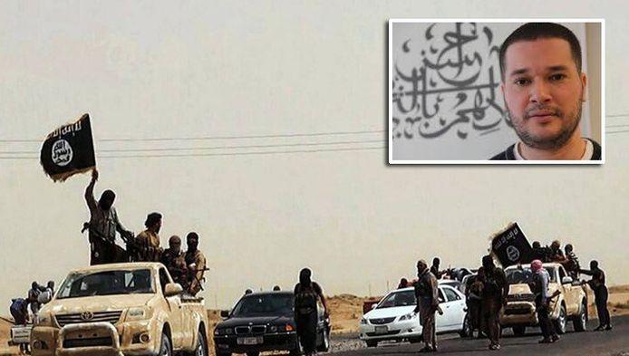 ISIS-aanhangers in Irak. Inzetje: het Haagse raadslid Abdoe Khoulani.