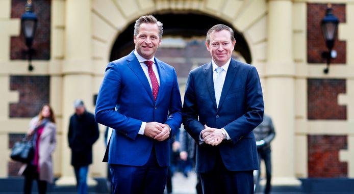 Hugo de Jonge (CDA - Minister van Volksgezondheid, Welzijn en Sport (VWS) en vicepremier samen met Bruno Bruins (VVD - Minister voor Medische Zorg onder VWS)