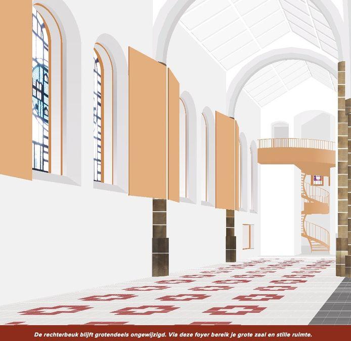 Een voorstelling van de binnenzijde van de kerk.