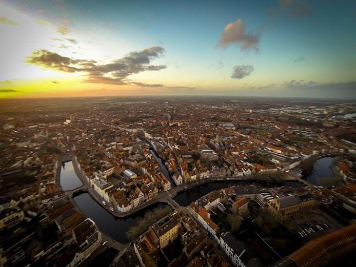 Een luchtfoto van Brugge.