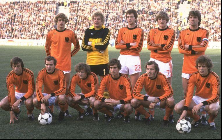 Het Nederlands elftal op het WK van 1978 in Buenos Aires, Argentinië. Het WK van 1978 was omstreden vanwege het Videla-regime in Argentinië. Ernie Brandts speelde met rugnummer 22. Beeld Getty Images