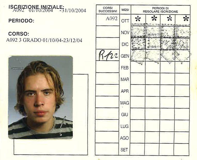 Het inschrijfbewijs van Daan Heerma van Voss aan de universiteit van Perugia, 2004. Beeld -