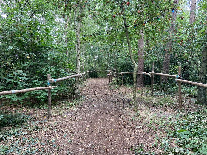 Sjorbalken bakenen het pad richting het terrein af