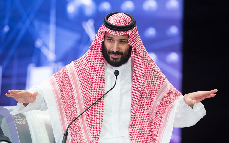 Mohammad bin Salman spreekt tijdens de Future Investment Initiative Conference in Riyadh, Saoedi-Arabië, 24 oktober 2018. Beeld EPA