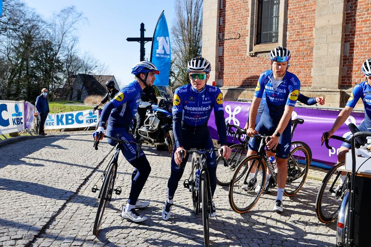 Ninove, Belgium - February 24 : EVENEPOEL Remco (BEL) of DECEUNINCK - QUICK-STEP during reconnaisance of the Flanders Classics 75th Omloop Het Nieuwsblad cycling race with start in Ghent and finish in Ninove on February 24, 2021 in Ninove, Belgium, 24/02/2021 ( Motordriver Kenny Verfaillie - Photo by Jan De Meuleneir / Photonews Beeld PHOTONEWS
