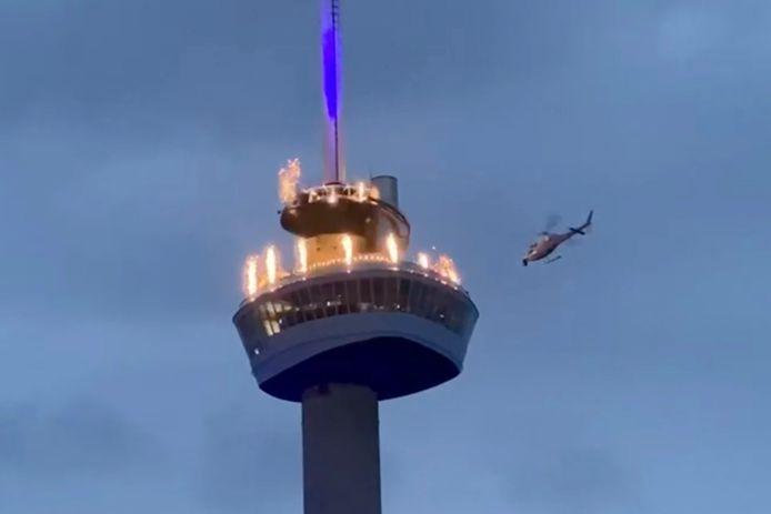 Spectaculaire opnames op de Euromast maandagavond.