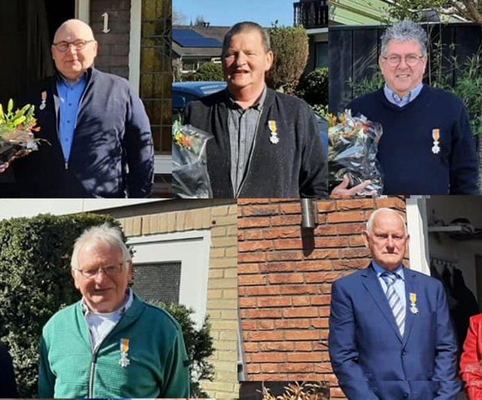 De gedecoreerden in West Maas en Waal, met de klok mee Gerrit van Kampen, Jan Brunst, Leo Lemmers, Rien Rutjens en Rien van Gelder.