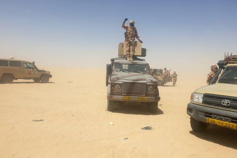 Tsjadische militairen bij een binnenlandse actie tegen opstandelingen.  Beeld Getty Images