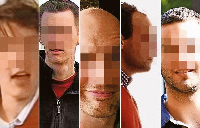 De verdachten in het proces van Dendermonde. Beeld rv